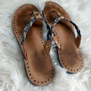 UGG Navie Blue & Jute Braided Thong Flat Sandals